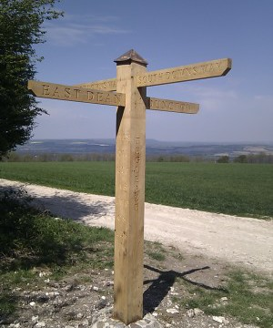 Fingerpost at Tegleaze on South Downs near Chichester