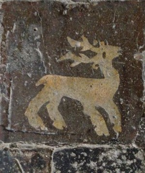 Medieval flood tiles in Boxgrove Priory near Chichester